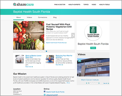 screenshot of our Sharecare page